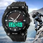 New Dual Time Zone Men Boy's Solar LED Sports Rubber Quartz 50M Waterproof Watch