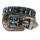 KATYDID BLUE AZTEC LEATHER RHINESTONE WESTERN COWGIRL BELT S M L XL