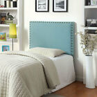 Herstal Contemporary Style Flax Fabric Blue Finish Headboard