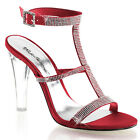 PLEASER CLE418/ROUSA Sexy Red Rouge Satin 3 Strap Rhinestone Sandals High Heels