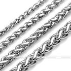 "20"" 3-6mm Silvery Stainless Steel Wheat Braided Chain Necklace Men Women Gift"