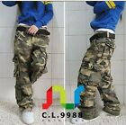 Hot Womens Military Army Camo Cargo loose Pocket Pants casual Trousers Outdoor