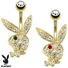 Gold Plated Playboy Bunny Gemmed Belly Button Bar Navel Piercing