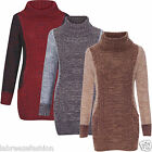 Ladies/Woman Long Sleeve Cowl Neck Pocket Tunic Knitted Jumper Pulse Size