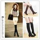 Girl Women Autumn Winter Over Knee Stretch Thigh High Slouch Heel Boot Shoe -CB