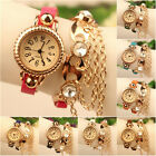 Ladies Girl Women Synthetic Leather Rhinestone Sling Chain Quartz Wrist Watch