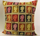 DESIGNER POSTAGE STAMP CUSHION COVER RED PURPLE CREAM CHARCOAL BURGUNDY BACK