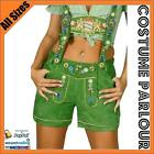 Ladies Authentic Green German Leather Lederhosen Bavarian Oktoberfest Costume