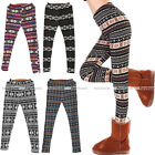 Thick Winter Warm Xmas Stripe Snowflake&Reindeer Knitted Pants Trousers Legging
