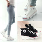 FREE Ladies Womens Lace Up High Top Wedge Heel Canvas Shoes Sneakers Star 4.5-8