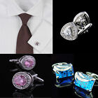 Crystal Silver  Men Stainless Wedding Party Gift Round&Square CuffLinks