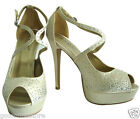 LYDC Ladies Designer High Heel Bridal Party Diamante Peep Toe Champagne Shoes