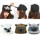 Lovely Girls' Canvas Cartoon Printing Cat Ear Hip-hop Flat-brimmed Hat Cap Hot