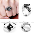 HOT Mens Cool Stainless Steel Bone Skull Motorcycle 1%ER Biker Club Logo Ring FB