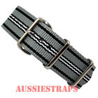 NATO® G10 BLACK WHITE GREY LINES military diver's watch strap band 4 RING NYLON