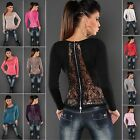 Women's Knit Lace Zipper Back Sweater Top with Rhinestones - S/M (US 2-4-6)