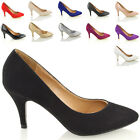 Womens Stiletto Mid High Heel Party Bridal Prom Pumps Ladies Court Shoes Size