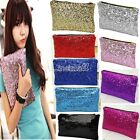 Ladies Lovely Shiny Sequins Wallet Evening Party Clutch Bag Glitter Sparkling LM