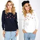 Cherry Print Personal Hoodies Women Loose Long Sleeve Sweater Tops Black LM