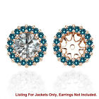Blue SI2 Diamond Halo Solitaire Stud Bridal Earrings Jackets 14K Rose Gold 1