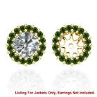 Green SI2 Diamond Halo Solitaire Stud Bridal Earrings Jackets 14K Yellow Gold