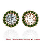 Green SI2 Diamond Halo Solitaire Stud Bridal Earrings Jackets 14K Rose Gold
