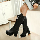 Womens Christmas Block Heel Lace Up Round Toe Platform Combat Knee High Boots SZ