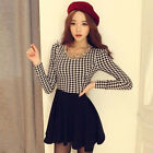 New Women Cotton Dress European Style Long Sleeved Plaid Print Dresses Applied