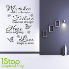 HOPE LOVE WALL STICKER QUOTE - BEDROOM LOUNGE HOME WALL ART DECAL X155