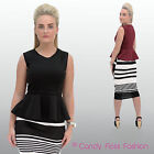 New Women Peplum Sleeveless Bodycon Skater Dress Top Size 8-14