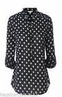 NEW WHITE STUFF NAVY BLUE WHITE SPOT POLKA DOT TUNIC SMART BLOUSE TOP SIZE 8- 18