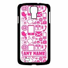 PERSONALISED PINK INTERNET PHONE/PC SYMBOLS SAMSUNG GALAXY S4 HARD CASE/COVER