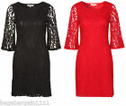 NEW LADIES RED BLACK LACE WIGGLE PENCIL PARTY EVENING DRESS VINTAGE SIZE 8 - 22
