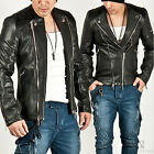 NewStylish Mens Fashion Casual BLACK Tops PINTUCK SHOULDER SLIM LEATHER JACKET