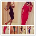 Women Half Sleeve Slim Bodycon Party Cocktail Evening Midi Dress Sexy Style - CB