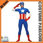 NEW Mens Captain America Skin Suit The Avengers Super Hero Costume All Sizes