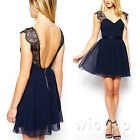 Summer Sexy Women Sleeveless Backless Cocktail Evening Party Lace Dress S M L XL