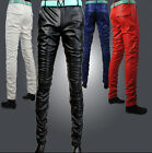 Mens Luxury Slim Fit Pants PU Leather Pants Skinny Trousers Leather Shorts Hot