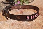 "Black/Espresso 3/4"" Custom Handmade Leather Dog Collar Personalized K9 Pet Name"