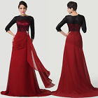 RED VINTAGE Long Chiffon Lace Evening Clubbing Party Prom Bridesmaid Gowns Dress