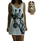 Giraffe Cute Print Vest Tank-Top Singlet (T-Shirt Dress) Sizes S M L XL