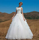 Elegant White Lace flowers Bride wedding Dress Off Shoulder Lace-up Bridal Gown