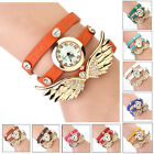 Women Chic Angel Wing Leather Rivet Strap Rhinestone Wrap Bracelet Wrist Watch