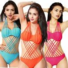 Womens Girls Padded Push Up Monokini One-piece Swimwear String Cut-out Swimsuit