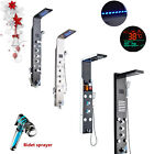 LED Stainless Steel Shower Panel Column Spa Massage Jets System Hand Spray Mixer