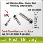 M6 A2 Stainless Steel SOCKET CAP Screws, Allen Key Socket Screw Bolts SMALL QTY