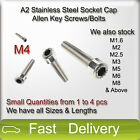M4 A2 Stainless Steel SOCKET CAP Screws, Allen Key Socket Screw Bolts SMALL QTY