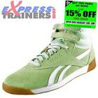 Reebok Classic Womens Girls Freestyle Hi Top Suede Trainers Green *AUTHENTIC*
