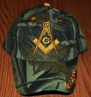 EMBROIDERED BLACK BLUE CAMO MASON MASONIC MASONRY HAT CAP FREEMASON CAMOUFLAGE