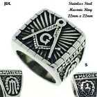 Mens Stainless Steel FreeMason  Masonic Ring In 14K Silver Finish